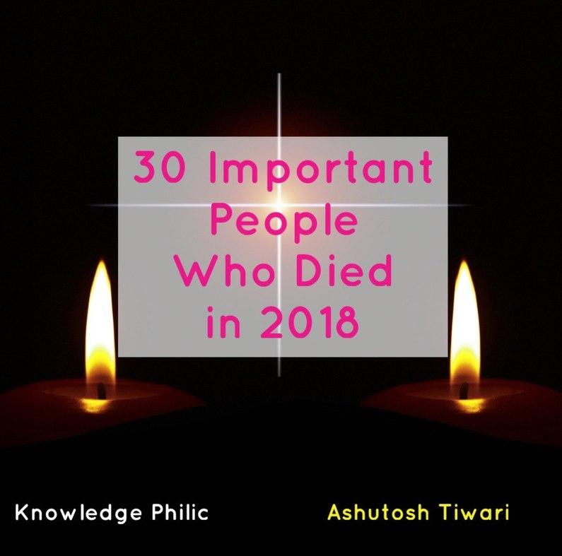 Obituary 2018 Part 06 | निधन 2018 | By Ashutosh Tiwari | Knowledge Philic